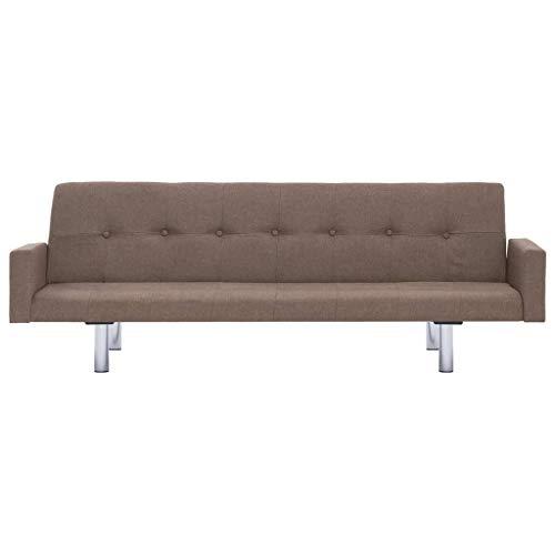 Lechnical Práctico sofá Cama Familiar Revestido de poliéster, sofá Cama de Estilo Moderno Color Topo-3 Posiciones Ajustables marrón