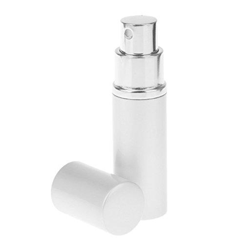 F Fityle Botella de Cristal Recargable Del Atomizador de La Bomba Del Viaje Del Perfume Del Metal de 10ml - Plata, tal como se describe
