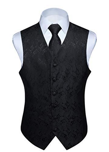 Hisdern Manner Paisley Floral Jacquard Weste & Krawatte und Einstecktuch Weste Anzug Set, Schwarz-2, Gr.-L (Brust 46 Zoll)