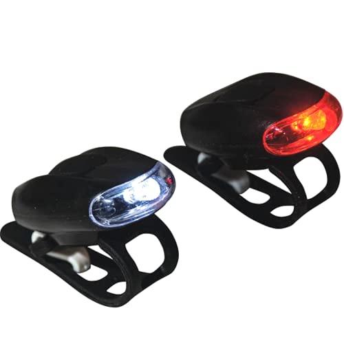 Patabit Luci Bici Anteriore E Posteriore per Bici da Corsa LED | Luce Bicicletta LED Anteriore E Posteriore Ideale per Monopattino Elettrico Montain Bike Casco A Batteria LR1130 Incluse (Luci Ovali)