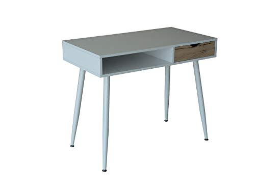 College Mesa metal y madera con cajones estilo nórdico para teletrabajo, estudio,escritorio,oficina,despacho, habitación juvenil, dormitorio