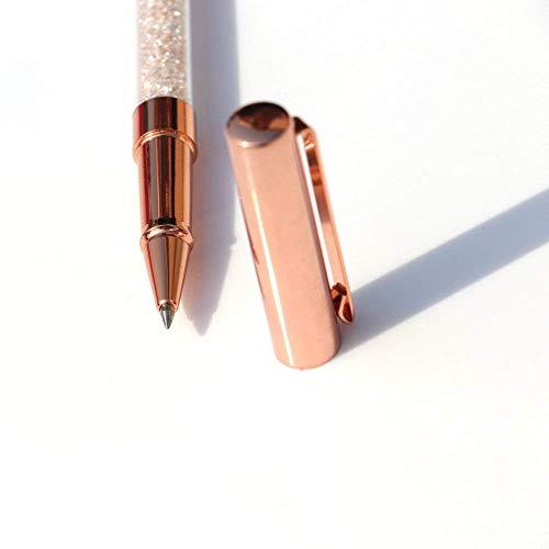 Rose Gold Pens, Gel Ink Roller Ball Pens Fine Point Black Ink Pens Rose Gold Office Supplies with 3 Extra Refills - 3 Pack (Gel Pen) Photo #3