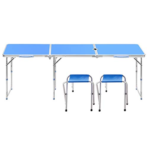 Tables et chaises Pliantes, Ajustable à 3 Vitesses 70/60 / 55cm, Portable Se Pliant en 8 Secondes avec Un Trou pour Parasol, pour Une Partie de Pique-Nique en Plein air -LJ Jing Shop