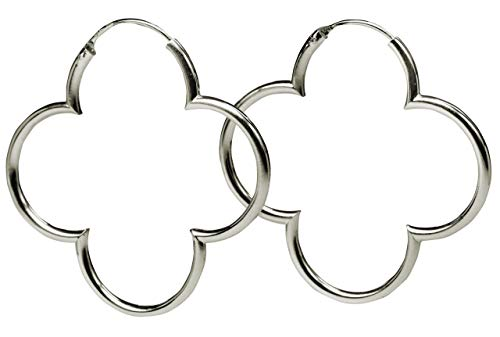 SILBERMOOS Damen Creolen Blumen Kleeblatt glänzend 925 Sterling Silber Ohrringe