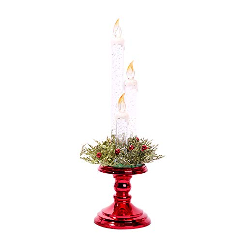 Electronic Light LED Candle for New Year Decorations for Party Christmas Gift and Seasonal Festival Celebration, Realistic and Bright Battery Operated Flameless Light (Red)