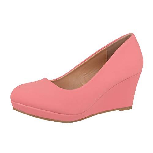Elara Damen Pumps Keilabsatz Schuhe mit Plateau Chunkyrayan B8011 Pink-39
