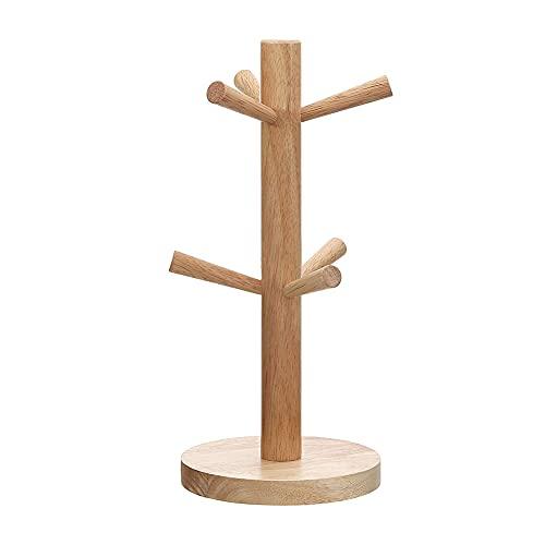 MUFENA Soporte de madera para tazas, árbol de bambú para tazas, soporte de madera, organizador de almacenamiento para tazas de café, té, tazas de secado (6 tazas)