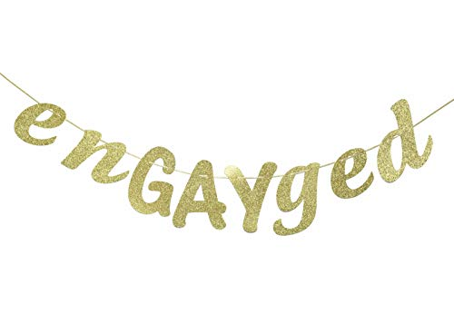EnGAYged Glitter Banner, Gay Engagement Party, Bachelorette Party Banner, Groom to be, Wedding Shower Decor (Gold)