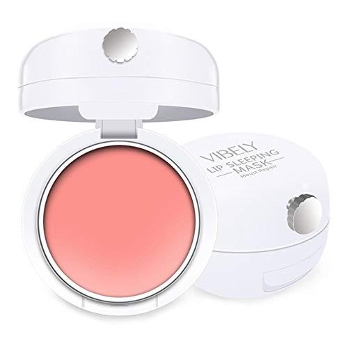 Lip Sleeping Mask, Overnight Lip Mask with Mirror and Brush, Moisturizing Rose Lip Treatment, Overnight Lip Balm Repair Cracked Lip, Plump Dry Lip, Lighten Lip Color