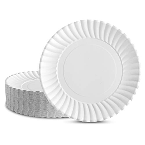 Plasticpro Disposable White Uncoated Paper Plates 7'' Inch Pack of 100