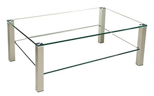 tischdesign24 Perth-C2031 Couchtisch mit einer 12mm Glasplatte. Stollen in 50x50mm Edelstahl gebürstet und versiegelt mit Rollen. Tischhöhe 42cm. Klarglas mit Ablage Größe: 110 x 70 cm Rechteckig