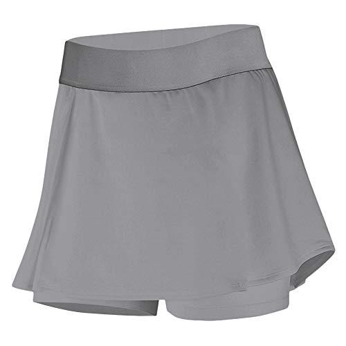 DYLH Damen Sport-Hosenrock Skort Tennisrock mit Tasche Innenhose für Laufen Golf Grau L