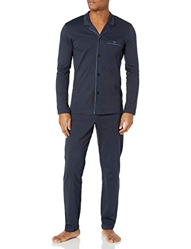 Emporio Armani Herren Sweater+Trousers Pyjama Set, Marineblau, Small