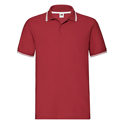 Fruit of the Loom SS034M - Polo Uomo, Red (Red/White), X-Large