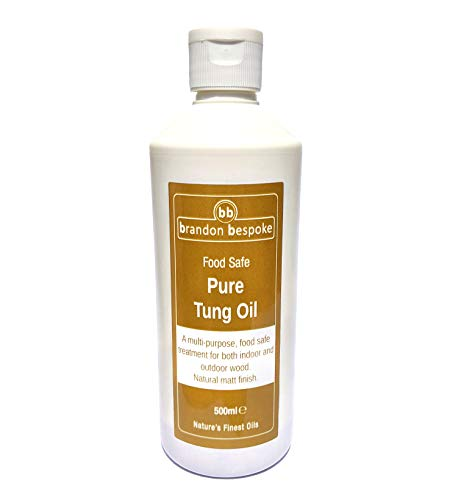 Pure Tung Oil Food Safe 500ml   Ideal for Wood, Slate and Stone   Natural Matt Finish   Brandon Bespoke
