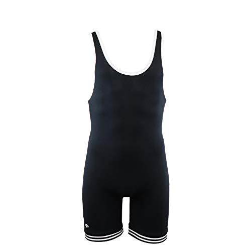 Matman Doubleknit Nylon Adult Wrestling Singlet, Matman 83 Nylon Fabric (Black/White, Large)