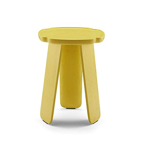 YUMEIGE-MESAS Mesa Auxiliar Decorativa Romántica, Forma De Pétalo, Mesa Auxiliar De Madera Maciza For Salón, Mesa De Gama Alta/Baja (Color : Lemon Yellow High Table)