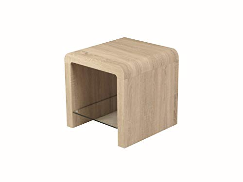 Malmo Oak End Table - Lamp Table with Shelf - End Table with Shelf - Finish : Light Oak Veneer with Tempered Glass - Living Room - Hallway - Bedroom Furniture