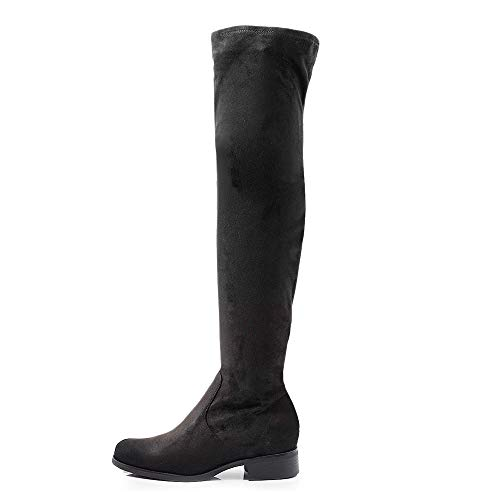 IF Fashion Stivali da Donna Scamosciati Alti sopra Ginocchio Tacco 3.5cm G502 Nero N.38