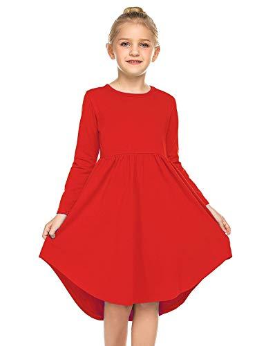 Parabler Rotes Kleid Mädchen Prinzessin Kleid Kinder Langarm Kleid Festlich Mädchen Baumwolle Kleider Rot Gr.120