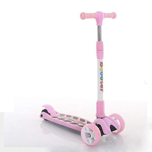 Kinderen scooters, high-profile verstelbare vouwen scooter, drie rondes kleurrijke band fietsen, met muziek, ingevoerde lagers, Geschikt for kinderen vanaf 2 jaar (Color : Pink)