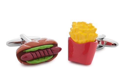 Sologemelos - Boutons De Manchette Hot Dog Et Frites - Vert, Rouge, Jaune, Marron - Hommes - Taille Unique