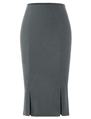 MUXXN Simple Cute Sheath Waist Bandage Pencil Dark Grey Womens Skirt (Gray XL)