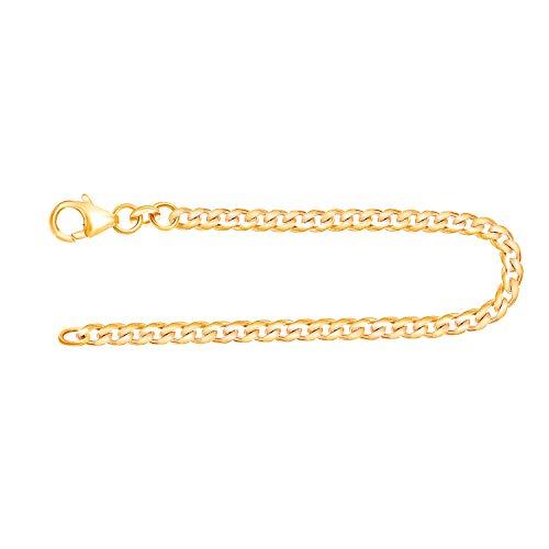 Echtgold Armband Herren Gold 3.4 mm, Panzerkette flach 585 aus Gelbgold Goldarmband mit Stempel und Karabinerverschluss, Länge 21 cm, Gewicht ca. 6.2 g, Made in Germany