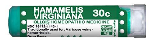 OLLOIS Organic, Lactose-Free Homeopathic Medicine, Hamamelis Virginiana 30C Pellets, 80Count For Hemorrhoids
