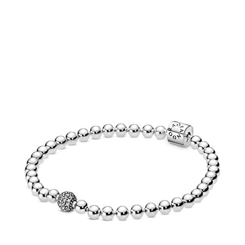 Pandora Jewelry Beads and Pave Cubic Zirconia Bracelet in Sterling Silver, 7.5""