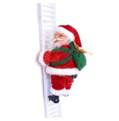 Adoture Kerstman op ladder elektrische kerstfiguren klimmen Santa Crawl decoratie geschenken kerstdecoratie figuur