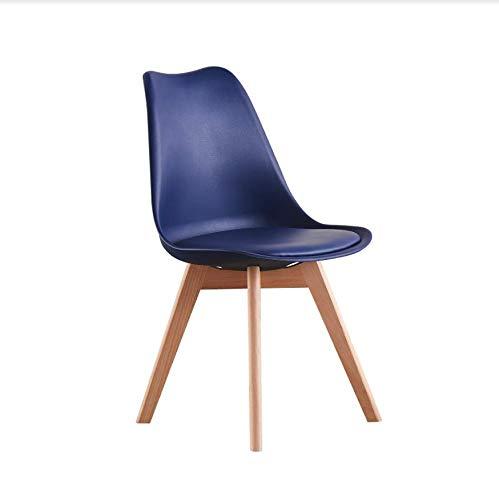 P&N Homewares Lorenzo Tulip Silla - Plástico | Asiento acolchado | Madera Retro | Sillas de comedor - Blanco Negro Gris Rojo Amarillo Rosa Verde Azul | Azul Real