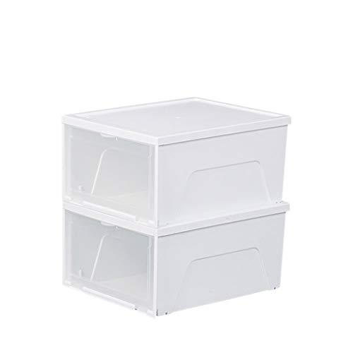 CSQ Transparent Drawer Shoe Box, White Finishing Box Plastic Closet Storage Box Suitable for Under The Bed, Shoe Ark Storage Box and Basket (Size : 34.62817CM)