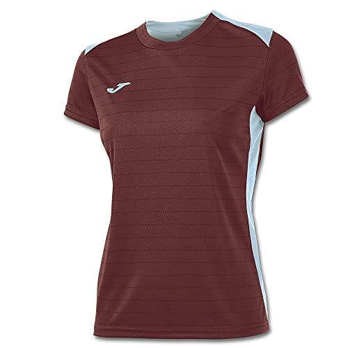 Joma Campus II - Camiseta de equipación de manga corta para mujer, color burdeos / celeste, talla S