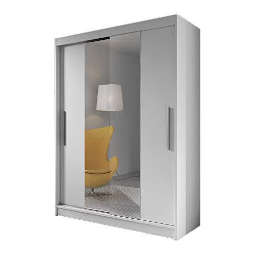 Idzczak Meble Schwebetürenschrank Vista 01 Kleiderschrank Schlafzimmer- Wohnzimmerschrank Schiebetürenschrank Modern Design Weiß Schwarz (Weiß/Weiß)