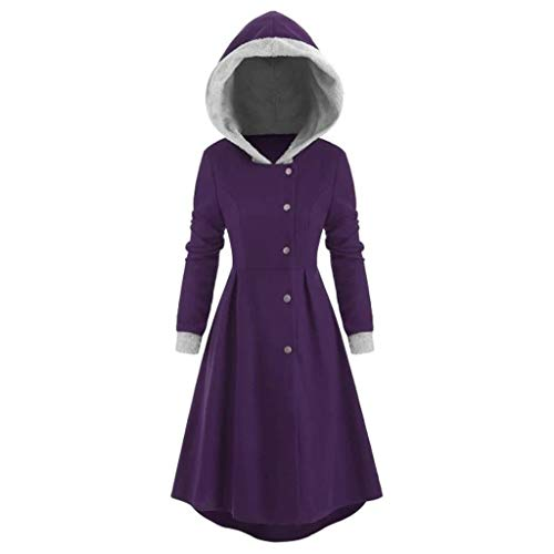 SSMENG Damen Oversized Renaissance Kostüme Kapuze Robe Button Vintage Kapuzenpullover High Low Long Hoodie Kleid Umhang Mantel(Lila,L)
