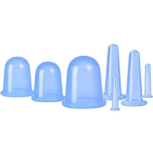 EXCEART Ventouses Ensembles 7Pcs Silicone Anti Cellulite Tasse Ventouses Ventouses Faciales Ensembles Corps Visage Masseur pour Adultes avec Sac Bleu