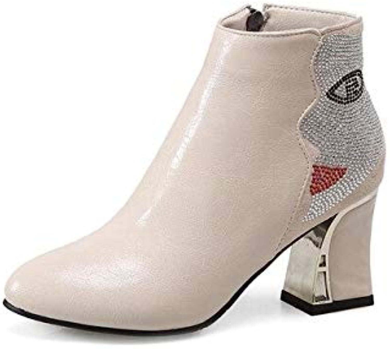 HOESCZS Delicate Frauen Schuhe Schuhe Im Frühjahr Herbst Stiefeletten High Heels Stiefel Pu Strass Mode Stiefel Büro Dame  das Neueste
