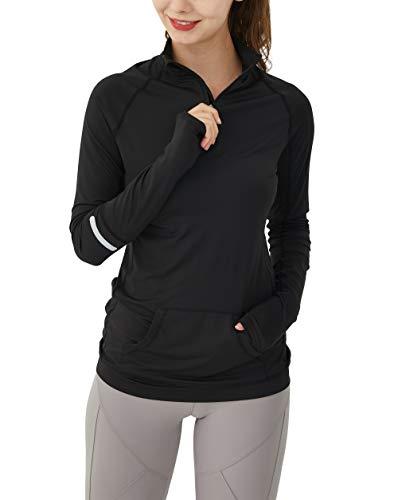 Westkun Camiseta de Manga Larga para Mujer Sudadera de Half Zip Deporte Chaqueta Yoga Casual Corriendo Pull-Over Tops con Agujeros para los Pulgares(Negro Sólido,XS)