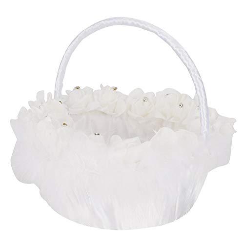 Fdit Modische Elegante Blumenmädchen Korb westlichen Stil Hochzeit Candy Korb mit weißem Satin dekoriert Hochzeitszubehör MEHRWEG VERPAKUNG