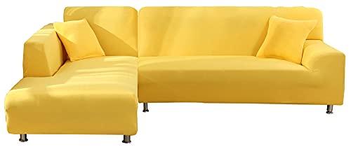 HXTSWGS Funda elástica para sofá, Protector de Muebles Lavable, 1 Pieza, Funda de sofá Suave para niños, Amarillo para Mascotas, 2_90-140cm
