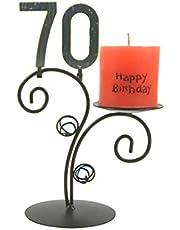 Candelabro Happy Birthday, Vela Candelabro de cumpleaños con número, con número a elegir extraíble, el original regalo de cumpleaños, Regalo de Aniversario para hombre, para mujer a cada Fiesta de cumpleaños, arce, 70. Geburtstag