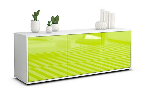 Stil.Zeit TV Schrank Lowboard Allegra, Korpus in Weiss matt/Front im Hochglanz Design Limettengrün (135x49x35cm), mit Push to Open Technik, Made in Germany