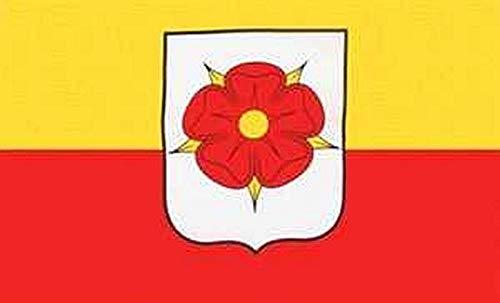 Fanshop Lünen Fahne Flagge Lippe - Kreis Detmold 90x150 cm Hissfahne mit Ösen Hißflagge Flag mit Rose