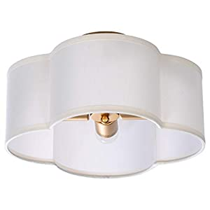 "VILUXY Semi-Flush Mount Ceiling Light Fixture Off-White Fabric Drum Shade Antique Brass Brush Paint Finish for Bedroom, Dining Room, Corridor, Living Room 13.77"" 4-Light"