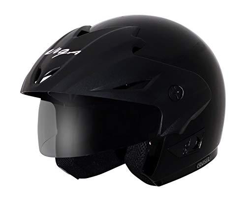 Vega Cruiser CR-W/P-K-L Open Face Helmet with Peak (Black, L)