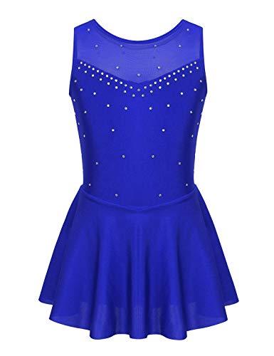 iEFiEL Abito da Pattinaggio Artistico Bambina Vestito da Balletto Abito da Ballo Vestito da Ballerina Skating Body da Danza Leotard con Strass Tutu Dancewear 5-14Anni Blue A 11-12 Anni