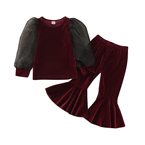 Kids Toddler Girl Outfits Jacket Romper Long Sleeve T-Shirt Top Dress + Flared Pants Sets Fall Winter Outfits Clothes