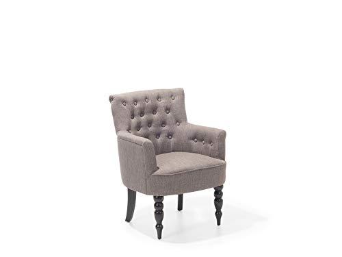 Beliani Stilvoller Sessel Polsterbezug Massivholz dekorative Versteppung Taupe Alesund