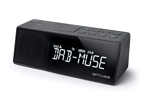 Muse M-172 DBT Uhrenradio mit Bluetooth, USB-Anschluss und Ladefunktion (Bluetooth, NFC, USB, AUX-In, PLL UKW-DAB/DAB+ Radio, LED-Display, 20 Senderspeicher, Sleep, Snooze) schwarz